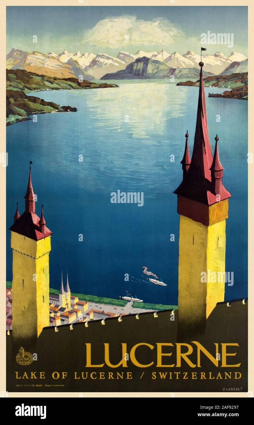 Vintage Travel Luzern Stockfoto