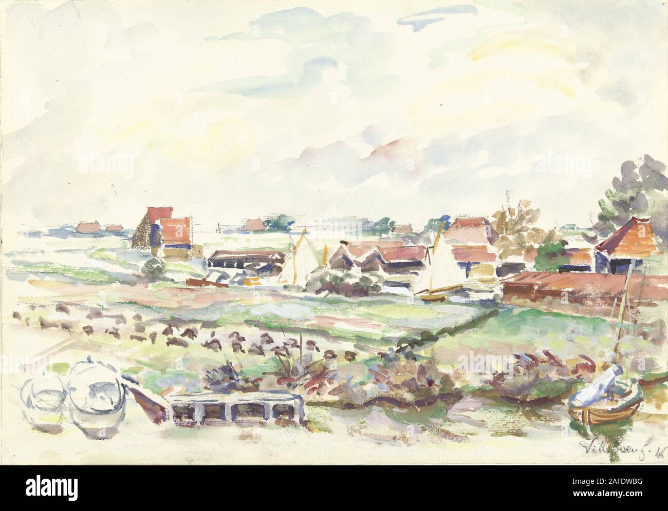 Landschaft in Friesland, Villeboeuf, 1846.jpg - 2 AFDWBG Stockfoto