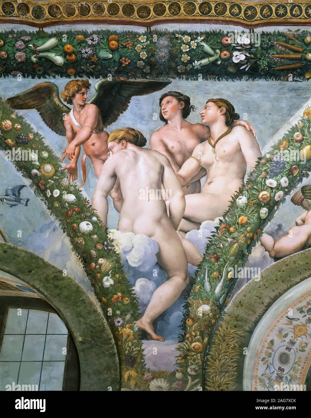 Amor und die Drei Grazien, 1517-1518. In der Sammlung der Villa Farnesina, Rom gefunden. Stockfoto