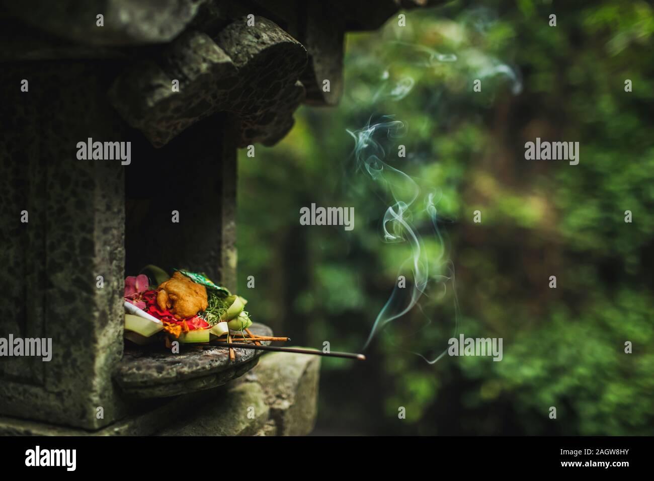Traditionelle balinesische Canang Sari Angebote für Götter und Geister mit Blumen, Essen und rauchige Aroma Sticks auf dunkelgrünem Hintergrund. Indonesische Kultur und Religion. Bali authentisch Travel Concept. Stockfoto