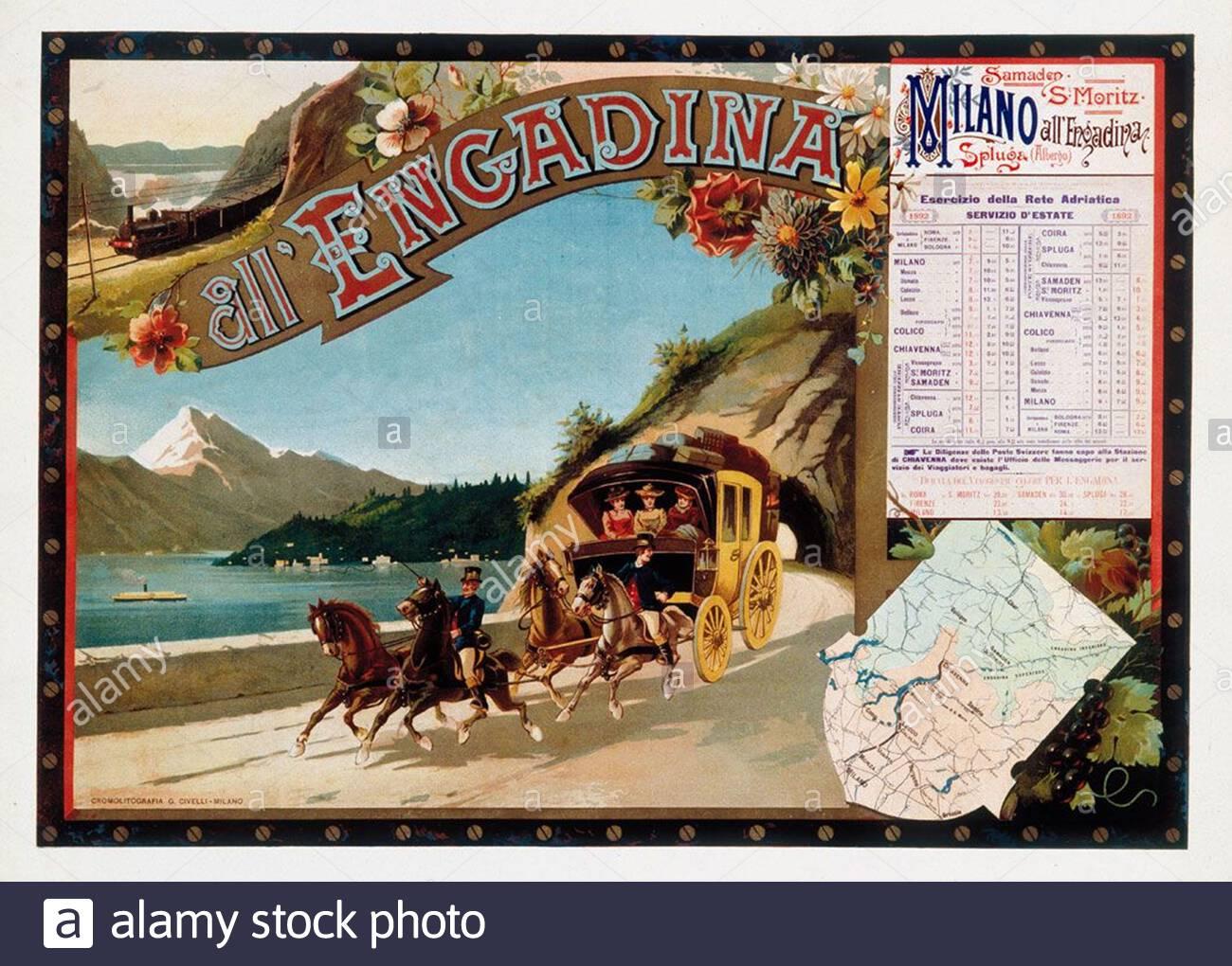 Vintage Post-Poach travel Poster - Engadin, Schweiz Stockfoto