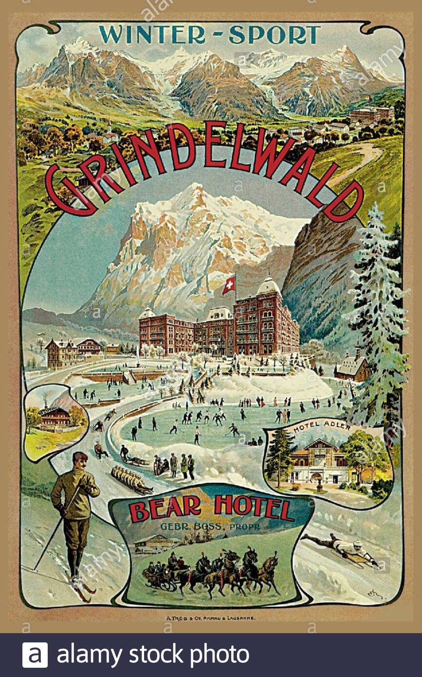 Vintage Travel Poster - Grindelwald, Schweiz im Winter Stockfoto