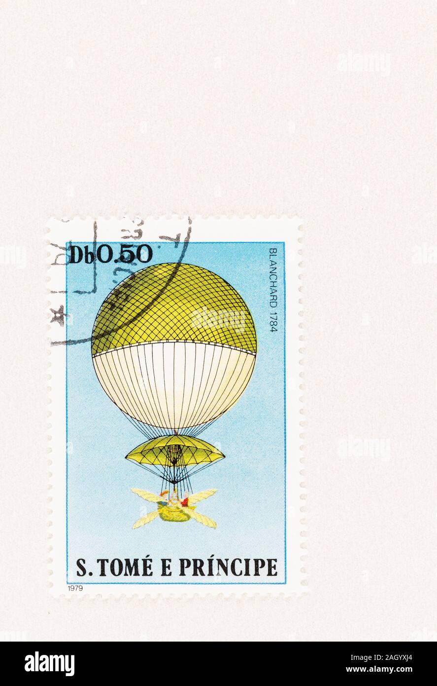 SEATTLE WASHINGON - Oktober 5, 2019: Stempel 1979 ausgestellt, zum Gedenken an den ersten erfolgreichen Wasserstoff Ballonfahrt der Erfinder und Ballonfahrer Jean Stockfoto