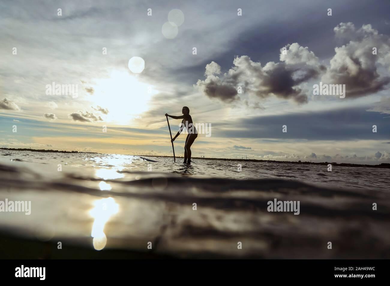 Weibliche SUP Surfer bei Sonnenuntergang, Bali, Indonesien Stockfoto