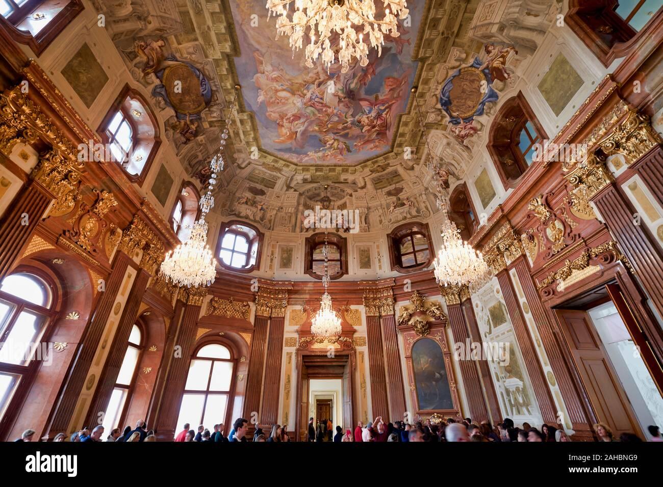 Belvedere Museum. Wien Österreich. Marmorsaal (Marmorsaal) Stockfoto