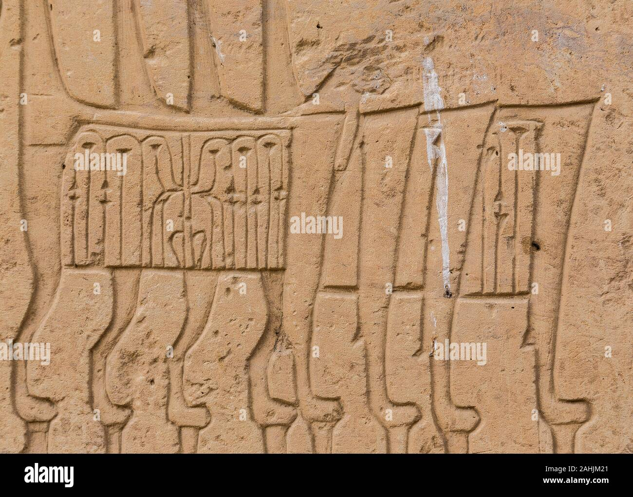 Ägypten, Tempel von Beit el Wali, auf kalabsha Island, Lake Nasser. Es ist eine frühe Bau von Ramses II. Throne mit Lion Pfoten. Stockfoto