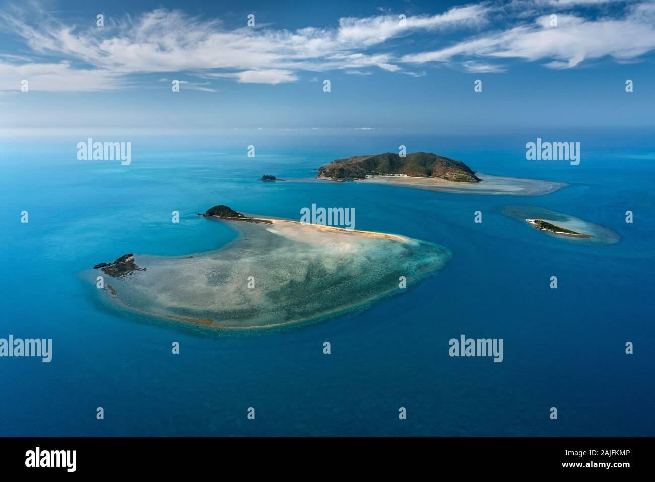 Luft von Hayman Island, einem Teil der berühmten Whitsunday Islands. Stockfoto