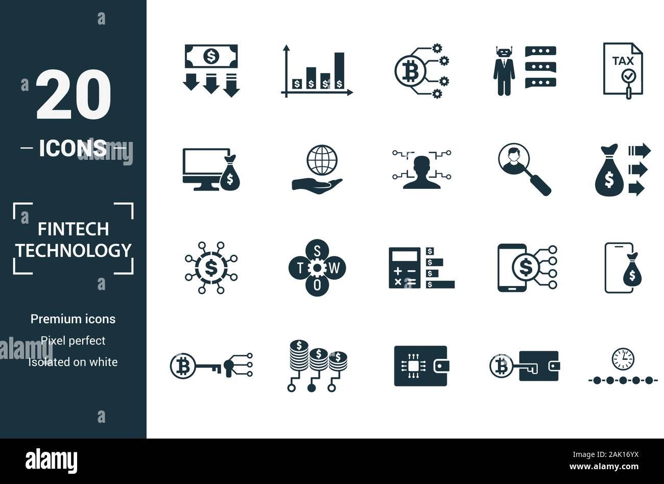 Fintech Technologie Icon Set. Kreative Elemente Grundeinkommen, bitcoin Technologie, online kredit, Kyc, Geschäftsmodell Symbole enthalten. Kann verwendet werden für Stock Vektor