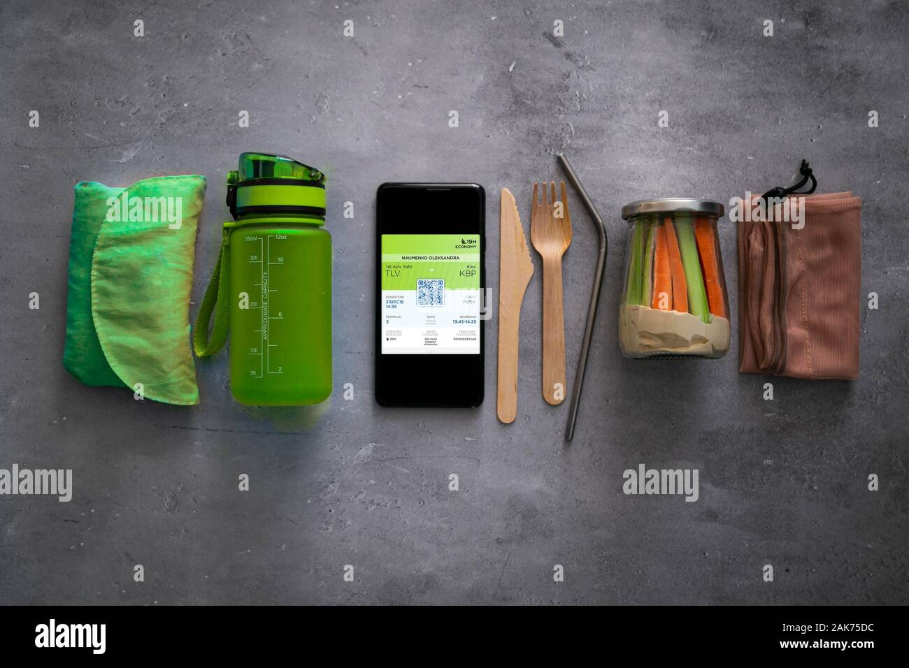 Null Abfall Travel Concept - Grundlagen für minimale negative Auswirkungen auf Reisen Stockfoto