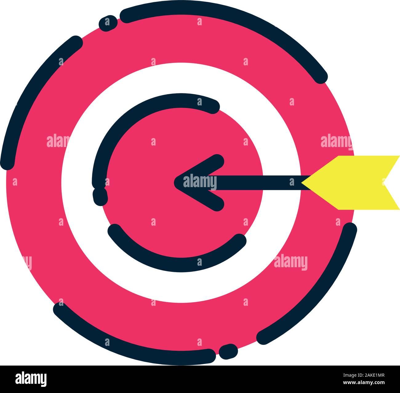 Ziel Icon Design, Lösung Erfolg Strategie Idee Problem innovation Kreativität, Inspiration und Intelligenz Thema Vector Illustration Stock Vektor