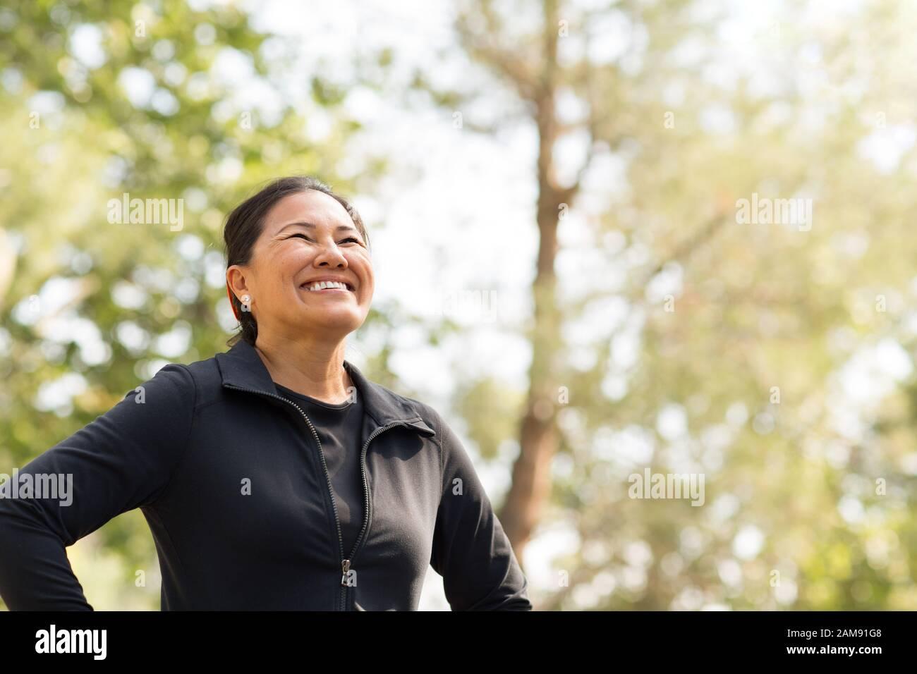 Portrait von einer asiatischen Frau trainieren. Stockfoto