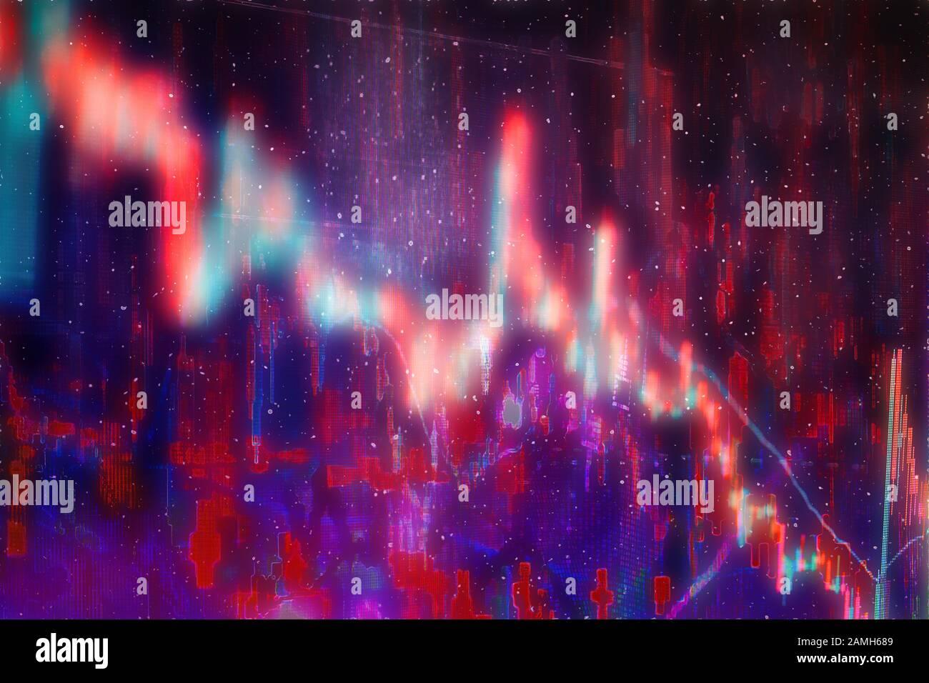 Ein abstraktes Hintergrundbild des Finanzdiagramms nach unten. Stockfoto