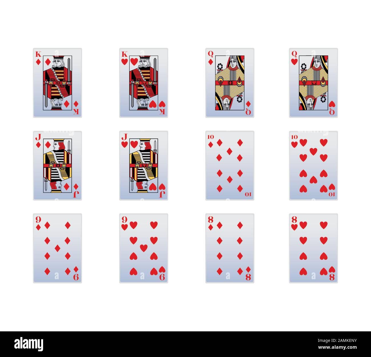 Spaten und Diamanten spielen Karten Symbol Set Stock Vektor