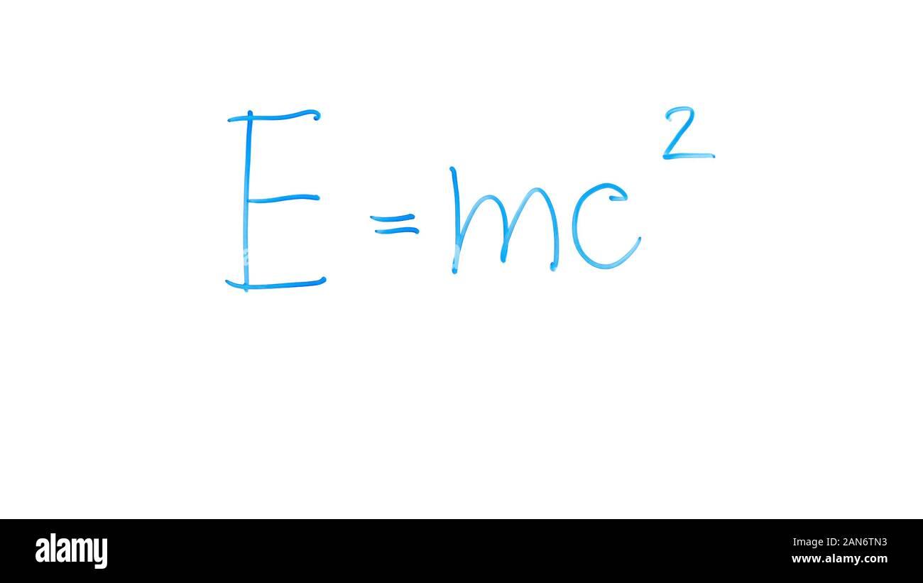Masse-energie Äquivalenz Formel auf Glas geschrieben, dass die Gesetze der klassischen Physik Stockfoto