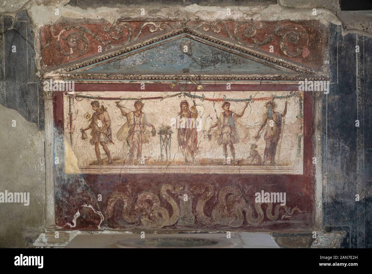 Pompei. Italien. Archäologische Stätte von Pompeji. Haus und der Thermopolium Vetutius Placidus auf der Via dell'Abbondanza (Casa e Thermopolium di Vetutius Pla Stockfoto