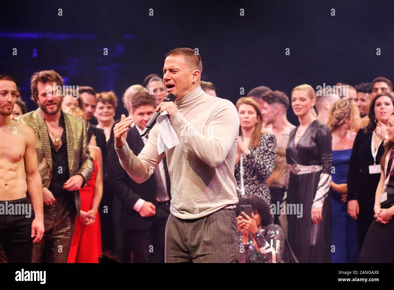 "Januar 16, 2020, Berlin: Channing Tatum kommt an der Premiere des Theaterstücks ""MAGIC MIKE LIVE"" im Theater am Potsdamer Platz. | Verwendung weltweit Stockfoto"