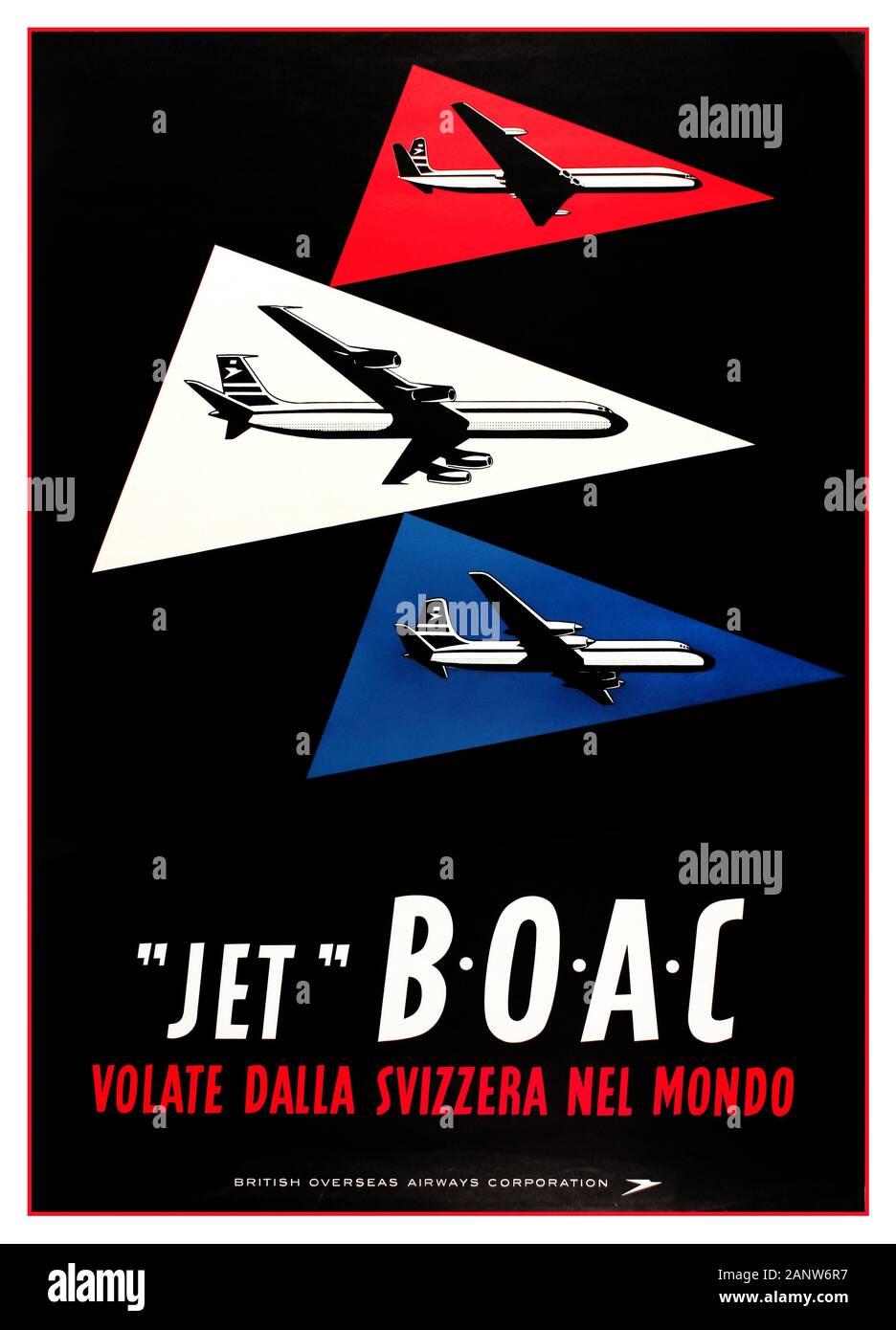"""BOAC Vintage Travel Advertising Poster 1960s veröffentlicht auf Italienisch von der British Overseas Airways Corporation (B.O.A.C.), um ihre Flüge aus der Schweiz zu bewerben: Fly Worldwide From Switzerland / """"Jet"""" B.O.A.C Volate Dalla Svizzera nel Mundo. Bilder von drei BOAC-Ebenen in drei verschiedenen Dreiecken, rot, weiß und blau vor schwarzem Hintergrund mit dem Titel unten in stilisierten weißen und roten Buchstaben und dem BOAC speedbird Logo in Weiß. Gedruckt in der Schweiz von Bollmann, Zürich. Land: Schweiz, Druckjahr: 1960, Designer: J Wild, Stockfoto"""