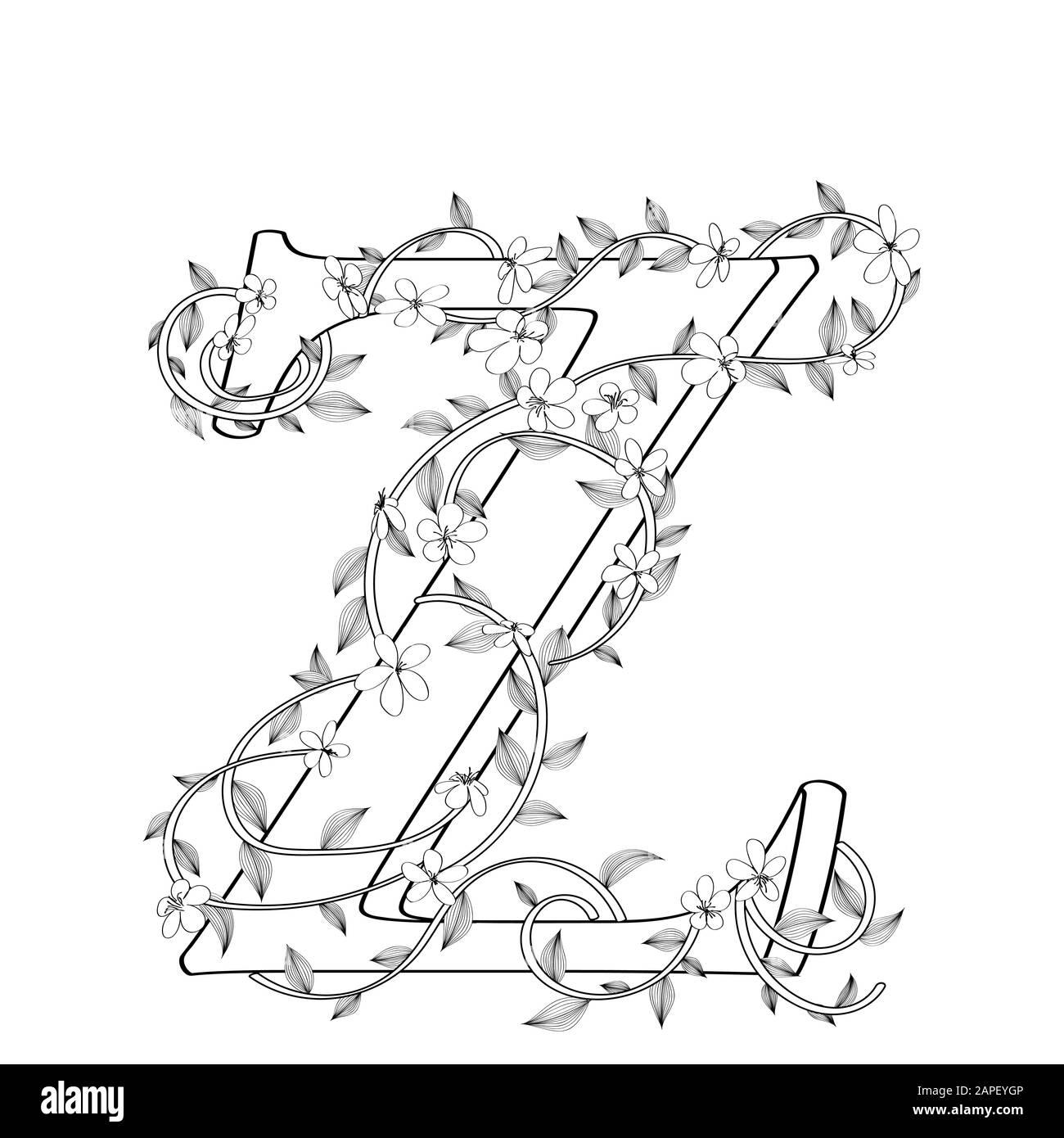 Letter Z Blumenskizze über weißem Hintergrund Stock Vektor