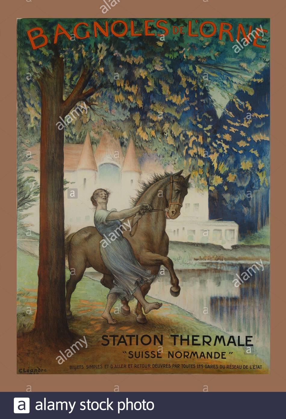 Vintage Travel Poster - Spa, Bagnoles of Lorne, Schweiz Stockfoto