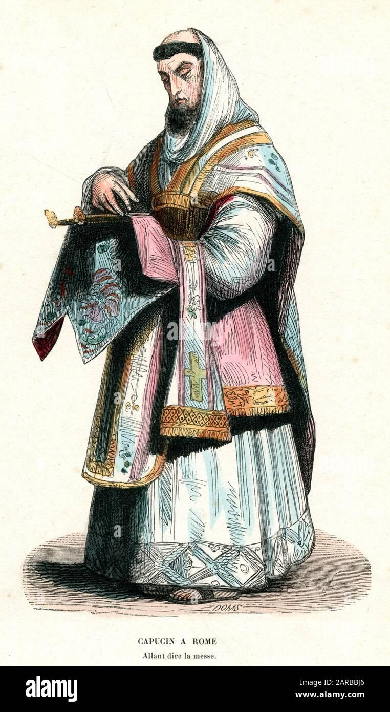 Ein Kapuziner in Rom sagt Messdatum: 1848 Stockfoto