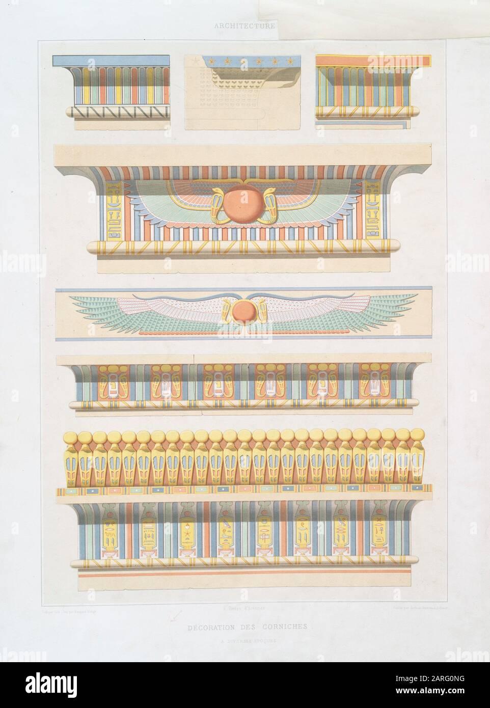Architektur: Dekoration von Gesimsen, zu verschiedenen Zeiten. Prisse d'Avnes, 1807-1879 (Autor) Ollé (Lithograph) Prisse d'Avonnes (1807-1879) Stockfoto