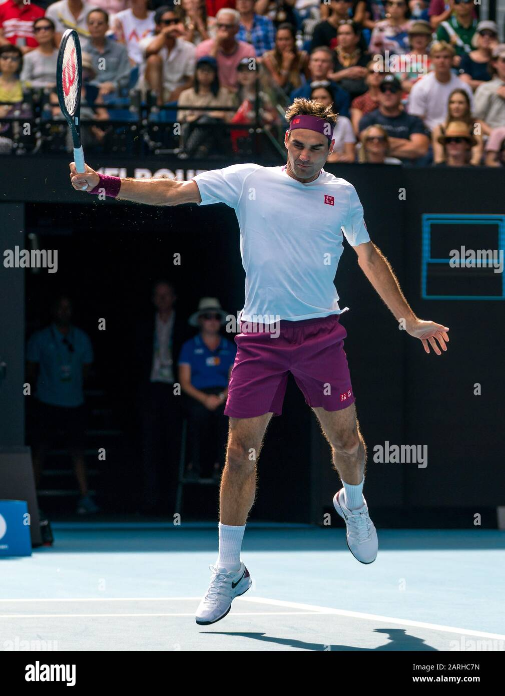"Melbourne, Australien. Januar 2020. Roger Federer aus der Schweiz beim Match ""Australian Open Tennis Championship Day 9"" 2020 im Melbourne Park Tennis Center, Melbourne, Australien. Januar 2020. ( © Andy Cheung/ArcK Images/arckimages.com/UK Tennis Magazine/International Sports Fotos) Credit: Roger Parker/Alamy Live News Stockfoto"
