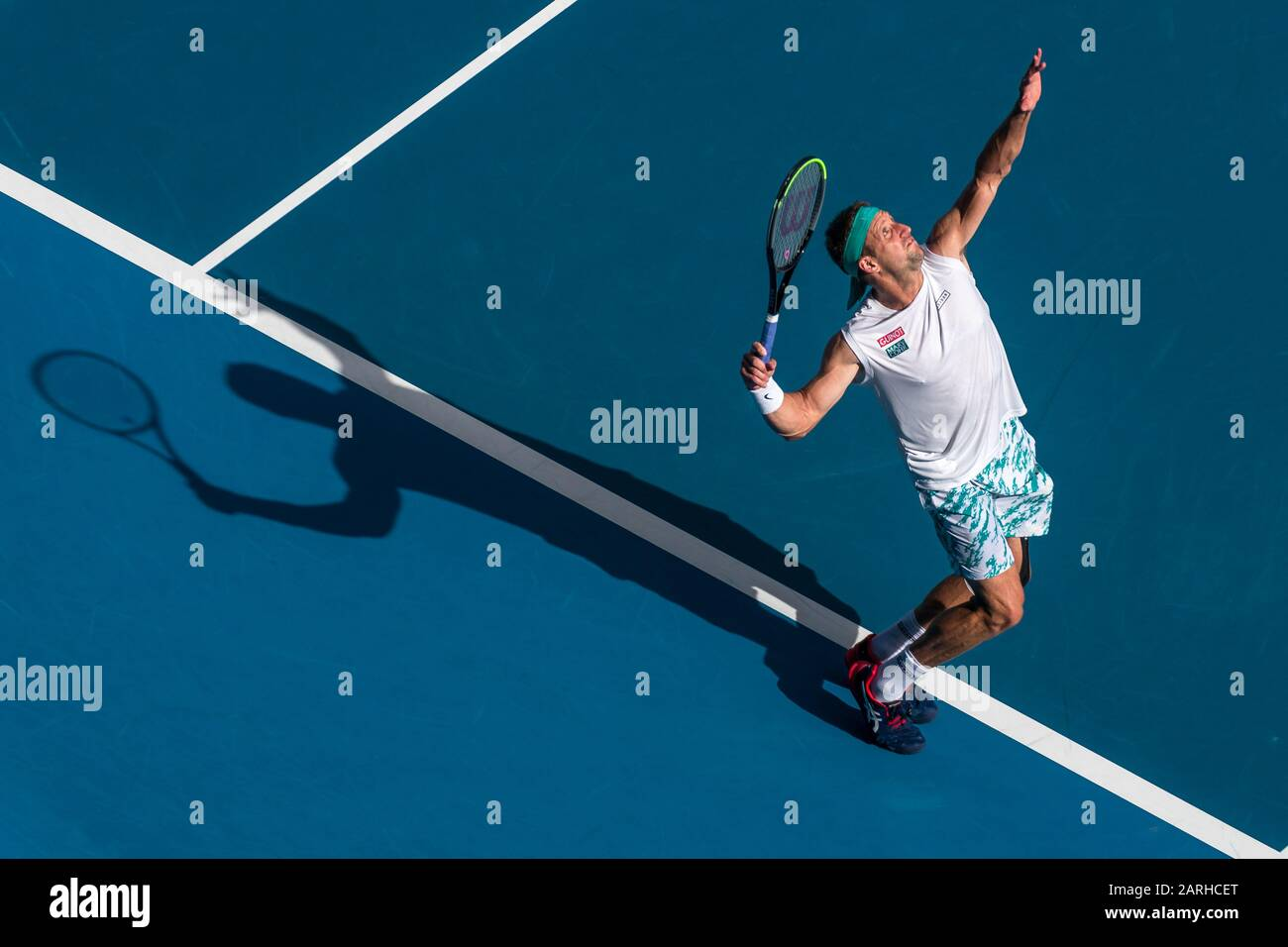 "Melbourne, Australien. Januar 2020. Tennys Sandgren aus den USA beim Match ""Australian Open Tennis Championship Day 9"" 2020 im Melbourne Park Tennis Center, Melbourne, Australien. Januar 2020. ( Credit: Andy Cheung/ArcK Images/arckimages.com/UK Tennis Magazine/International Sports Fotos) Credit: Roger Parker/Alamy Live News Stockfoto"