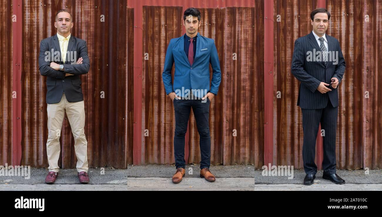 Collage von drei persischen Geschäftsleuten im Anzug mit verschiedenen Altersgruppen in den Straßen im Freien Stockfoto