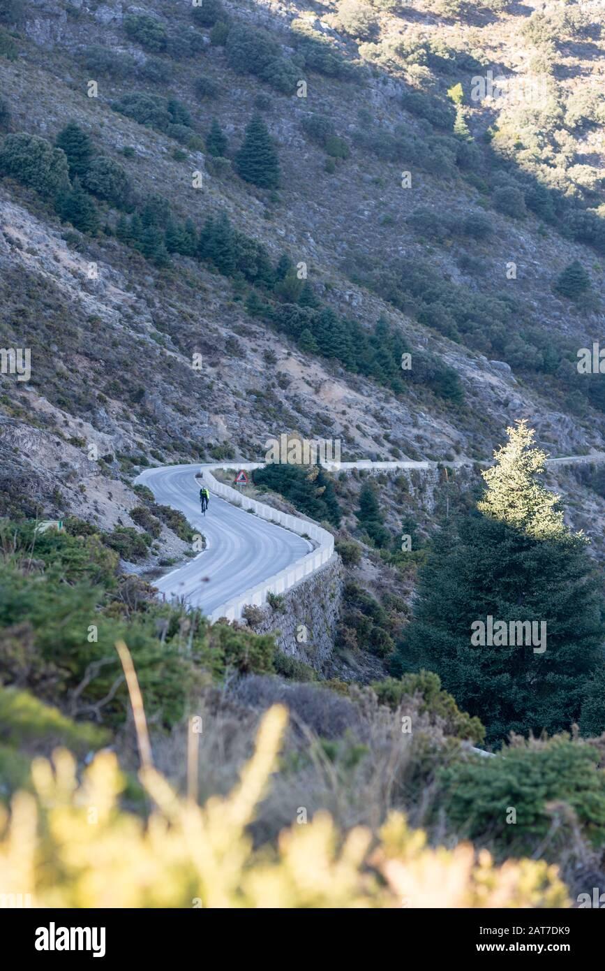 Radfahrer steigt auf einer kurvenreichen Bergstraße in Südspanien auf. Stockfoto