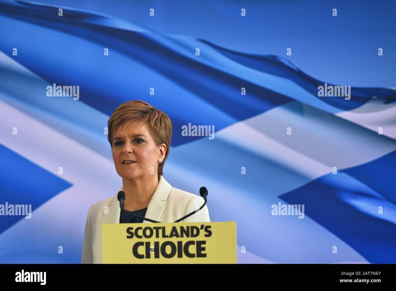 Edinburgh Scotland, Großbritannien 31. Januar 2020; Schottlands Erste Ministerin Nicola Sturgeon bei Dynamic Earth, wo sie die nächsten Schritte der SNP in der Kampagne für Schottland zu einem unabhängigen Land umreißt. Kredit Steven scott taylor / Alamy Live-Nachrichten Stockfoto