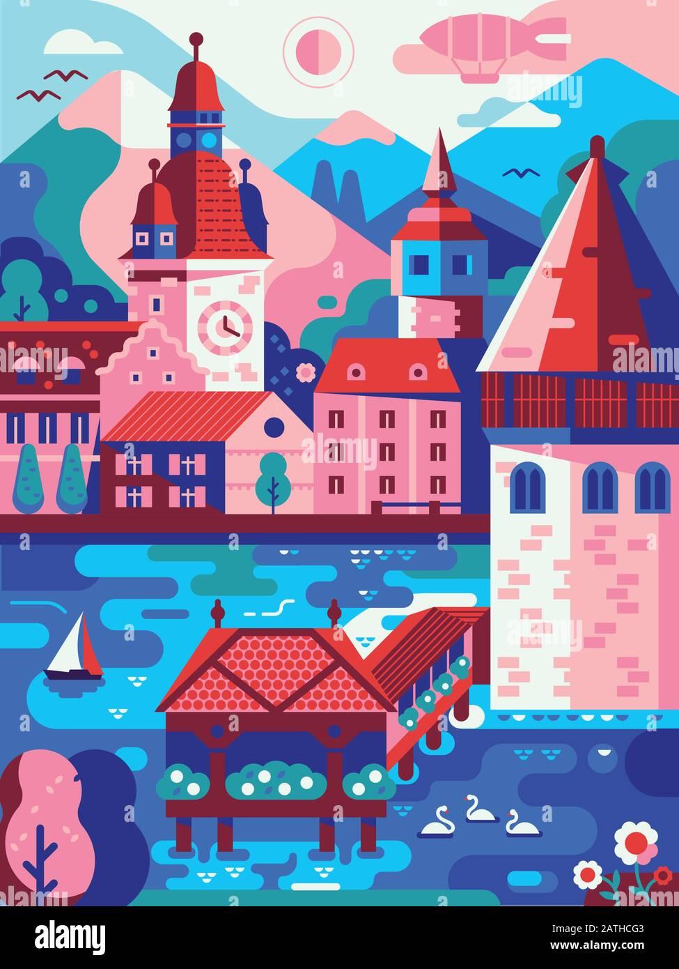 Alps Mountains Stadt Luzerner Vintage Travel Poster Stock Vektor