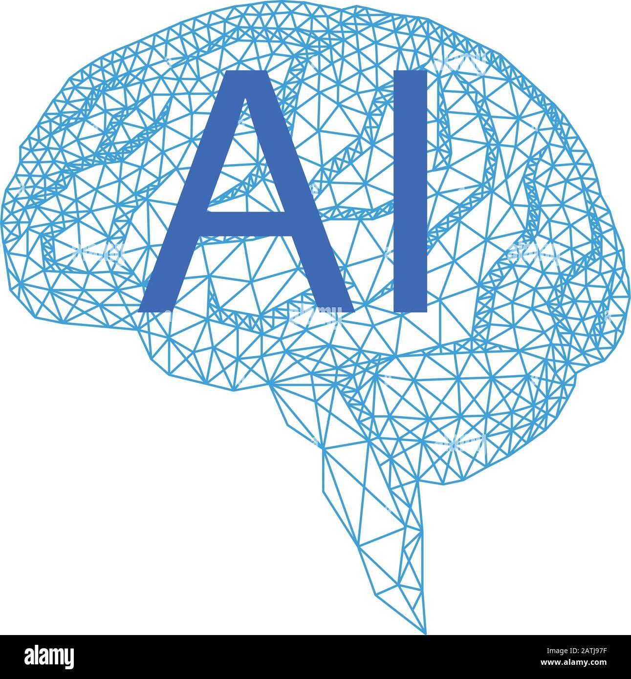 Künstliche Intelligenz, geometrisches menschliches Gehirn, Vektordarstellung auf weißem Hintergrund Stock Vektor