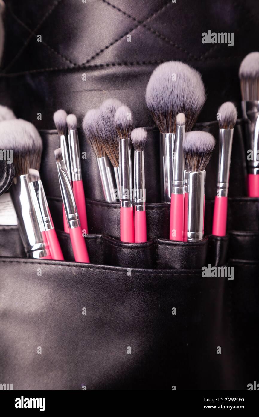 Nahaufnahme der Makeup-Bürsten Stockfoto