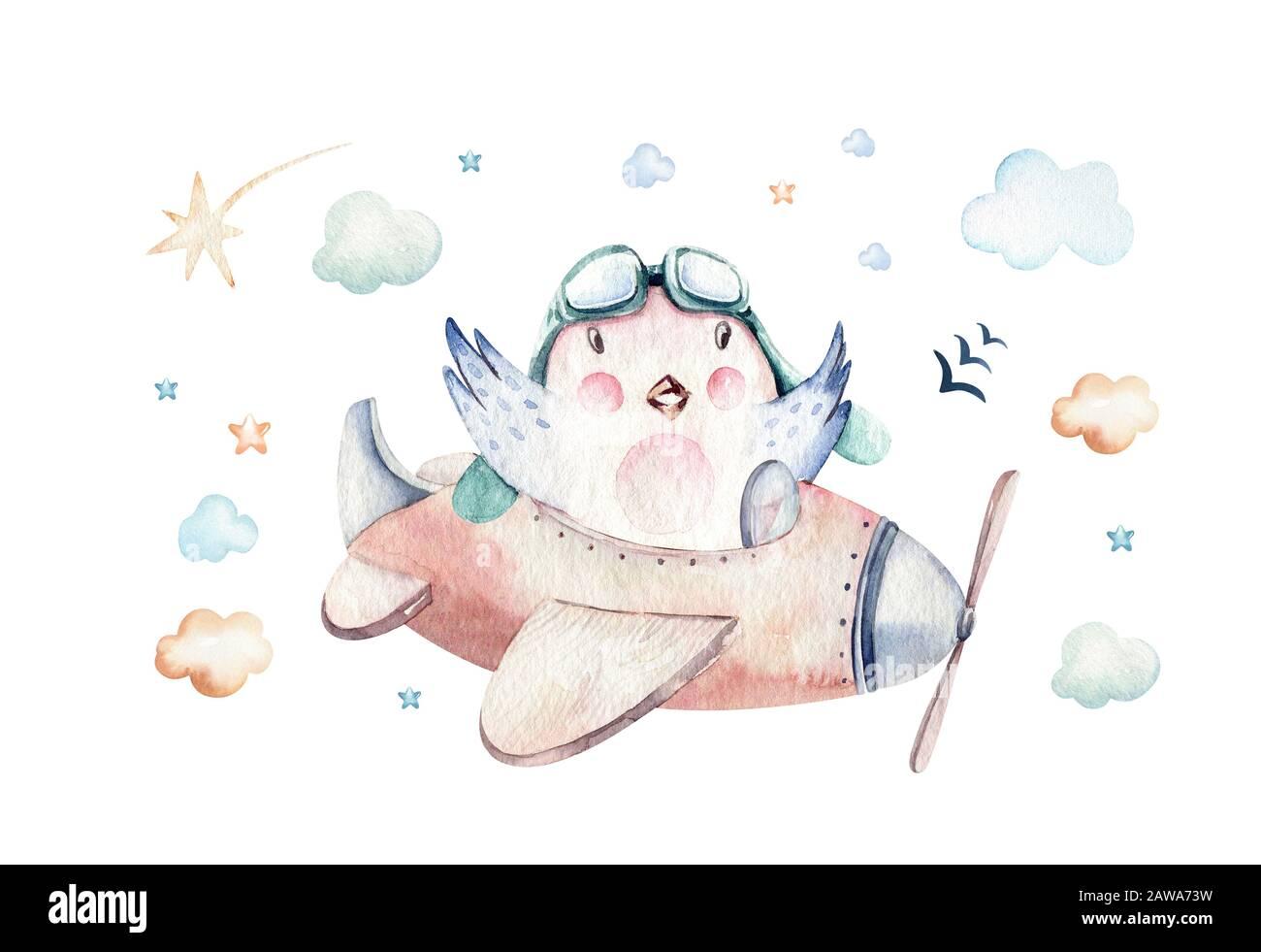 Aquarell Hintergrundfarbe festlegen Abbildung: eine niedliche und ausgefallenen Sky-Szene komplett mit Flugzeugen, Helikoptern und Ballonen, Wolken. Junge Muster. Es ist ein ba Stockfoto