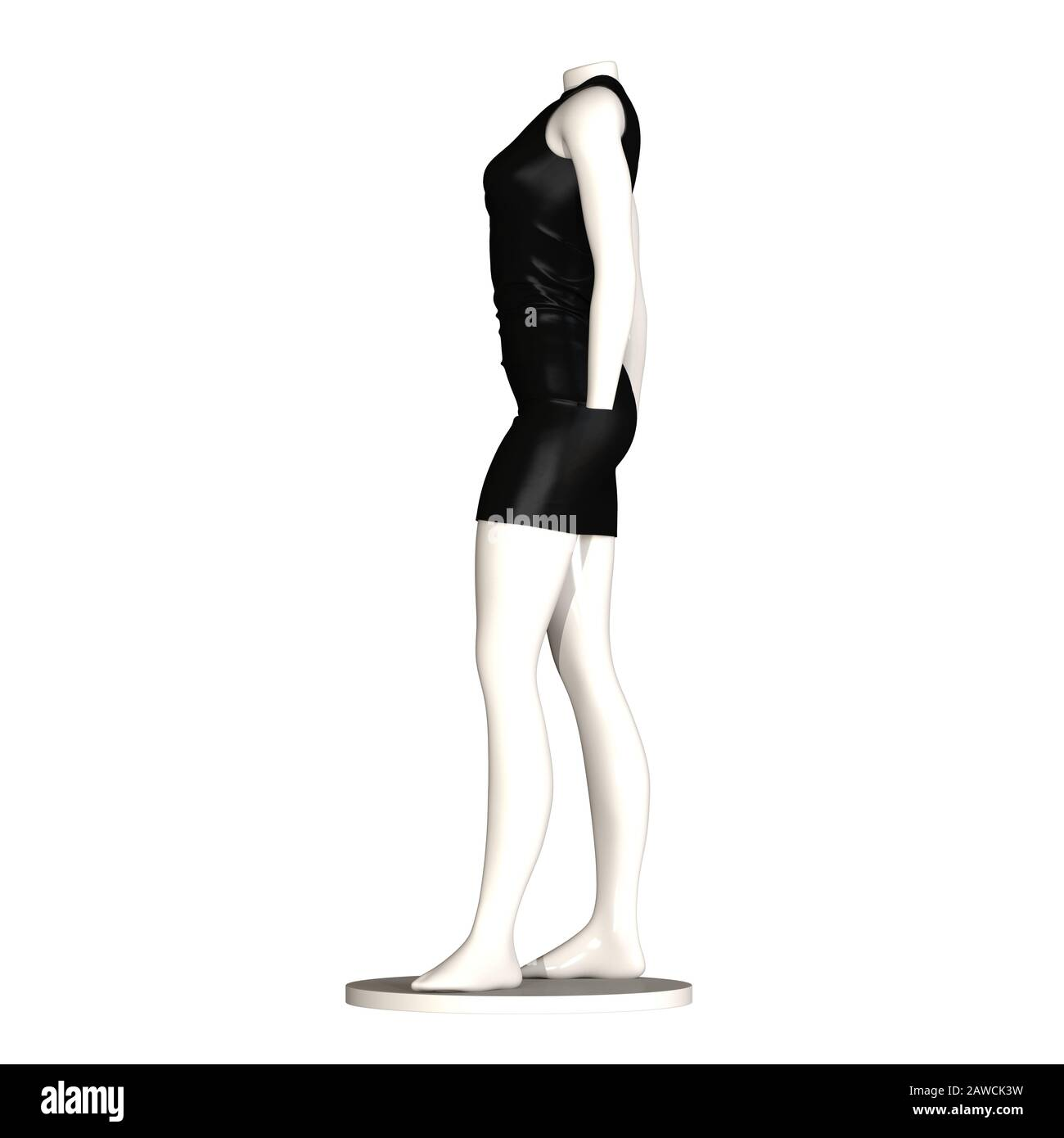 Weisse Maniken In Einem Schwarzen Kleid Vor Weissem Hintergrund Isolieren 3d Rendering Mit Hervorragender Qualitat In Hoher Auflosung Sie Kann Vergrossert Und Verwendet Werden Stockfotografie Alamy