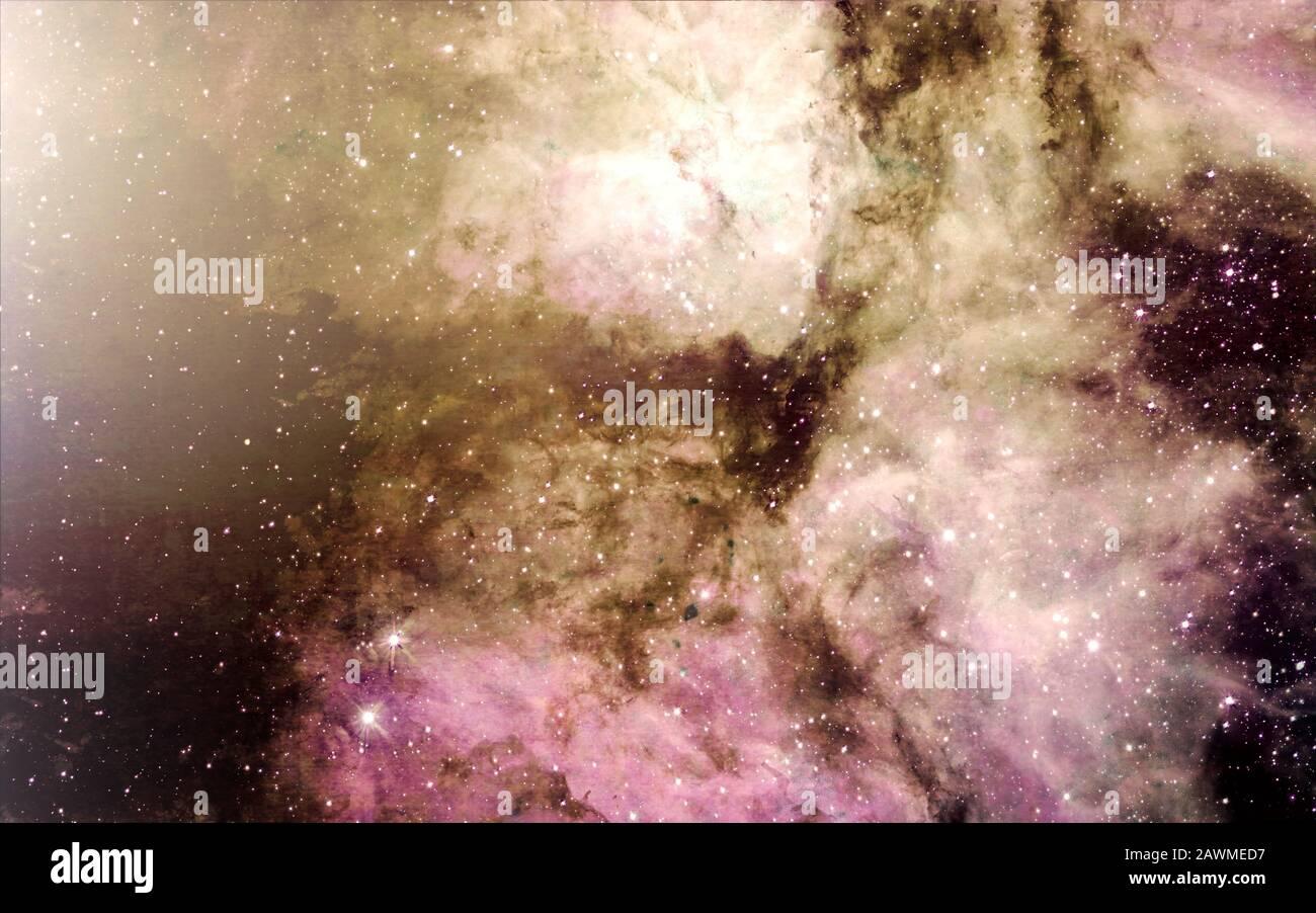 Sternen, Staub und Gas nebula in einer fernen Galaxie raum Hintergrund. Stellare Kinderstube. Das unendliche Universum Stockfoto