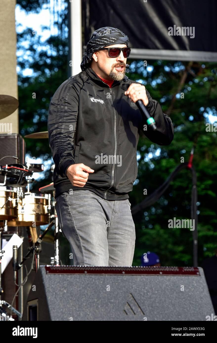 B-Real von Cypress Hill auf der Bühne beim Bottlerock Music Festival In Napa, Kalifornien. Stockfoto