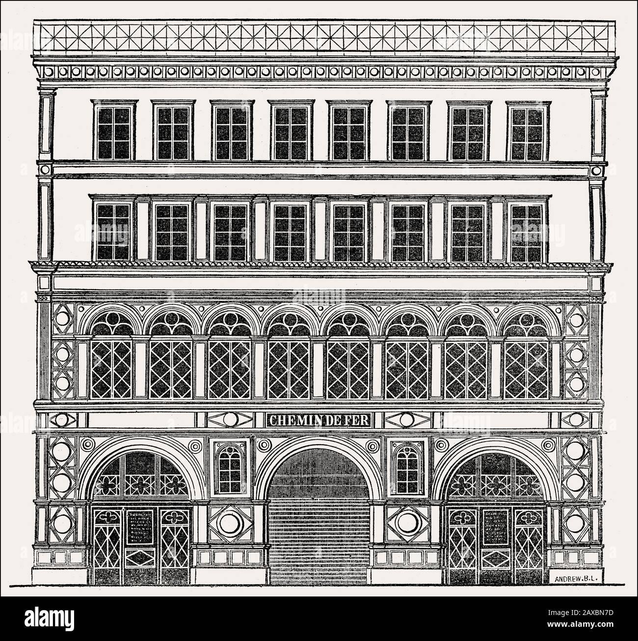 Die geplante Fassade des Bahnhofs Madeleine, Rue Tronchet, Paris, Frankreich, 1830er Jahre Stockfoto