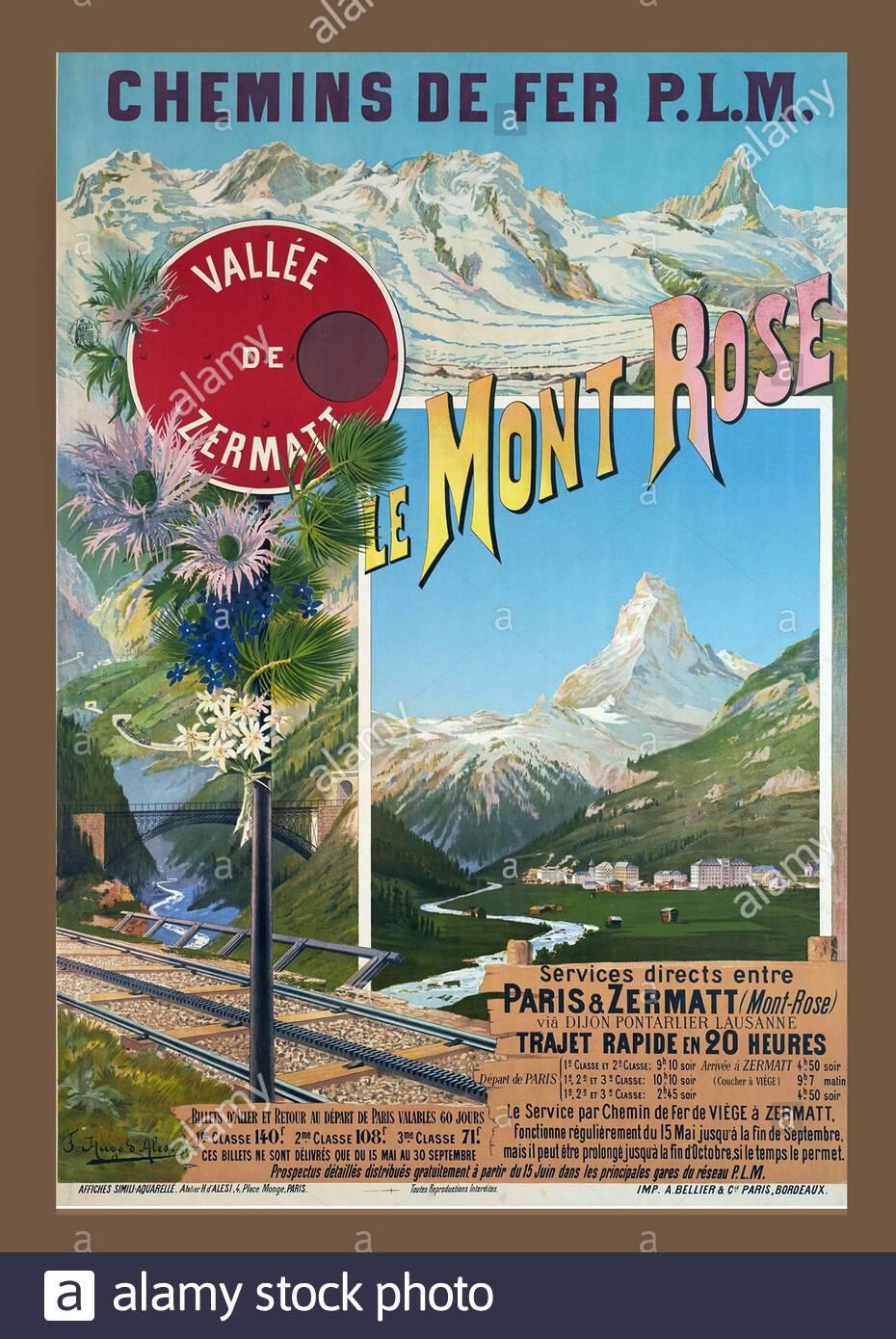 Vintage Railway Travel Poster - Le Mont Rose, Zermatt Valley, Schweiz Stockfoto