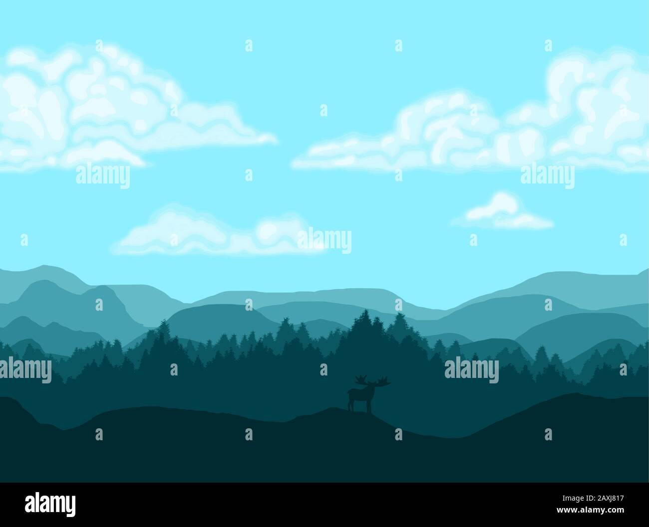 Farbverlauf blauer Hintergrundvektor. Kacheln werden horizontal wiederholt, wenn sie neben sich platziert werden, um eine endlos lange Landschaft zu schaffen. Stock Vektor