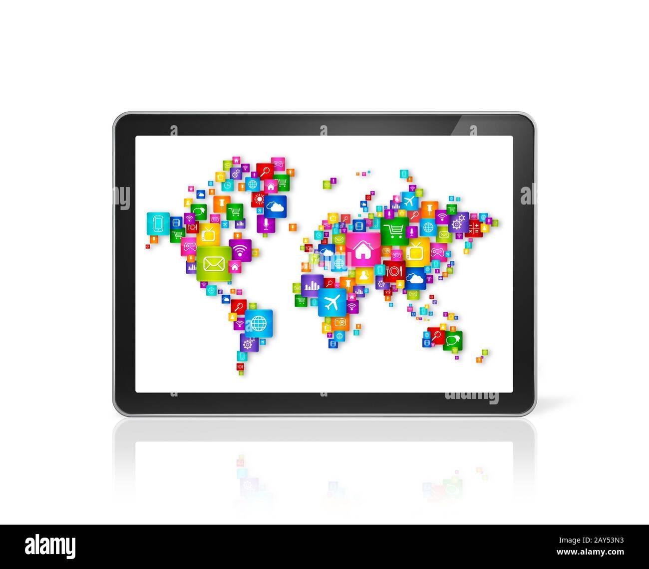 Weltkarte aus Symbole auf digitale Tablet-PC. Cloud Computing Konzept Stockfoto