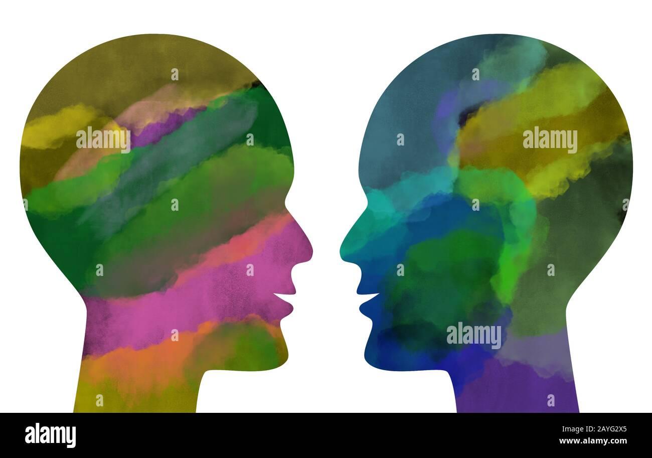 Zwei waterfarbene menschliche Köpfe, die einander gegenüberstehen, isoliert auf weiß. Stockfoto