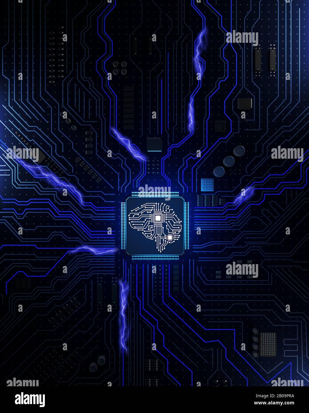 Steckdosenleiste in Form des menschlichen Gehirns. 3D-Abbildung Stockfoto