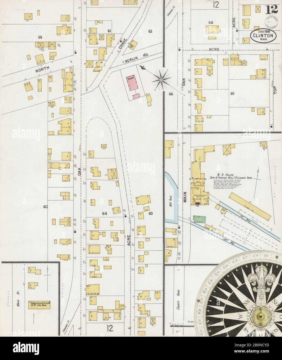 Bild 12 von Sanborn Fire Insurance Map aus Clinton, Worcester County, Massachusetts. Juni 1899. 12 Blatt(e), Amerika, Straßenkarte mit einem Kompass Aus Dem 19. Jahrhundert Stockfoto