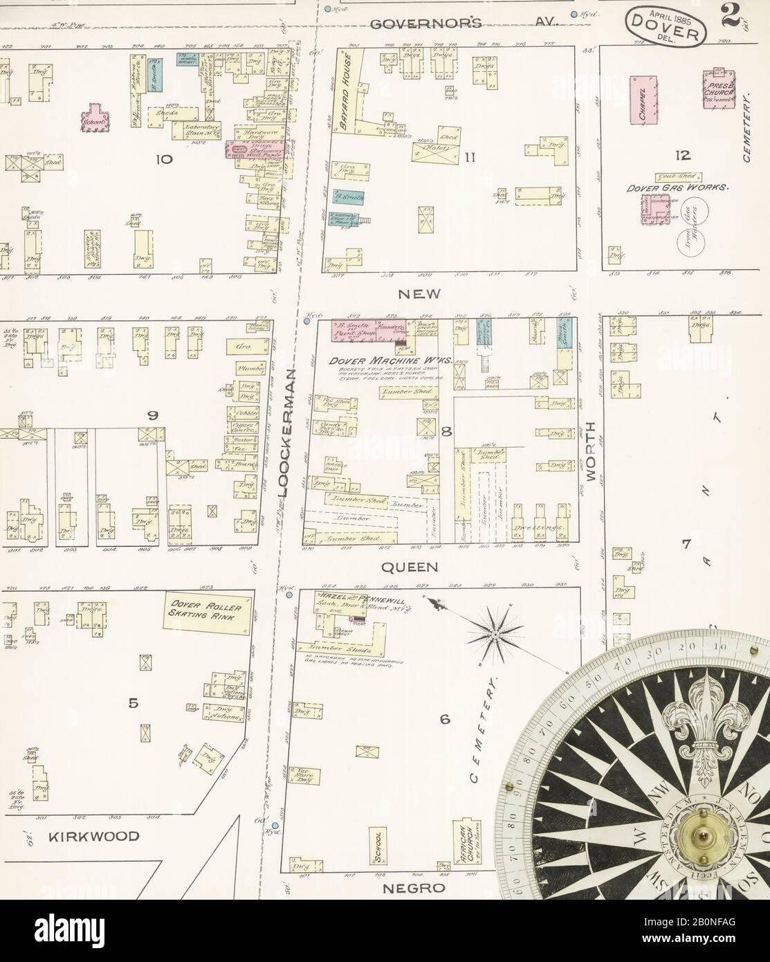 Bild 2 von Sanborn Fire Insurance Map aus Dover, Kent County, Delaware. Apr. 1885. 4 Blatt(e), Amerika, Straßenkarte mit einem Kompass Aus Dem 19. Jahrhundert Stockfoto