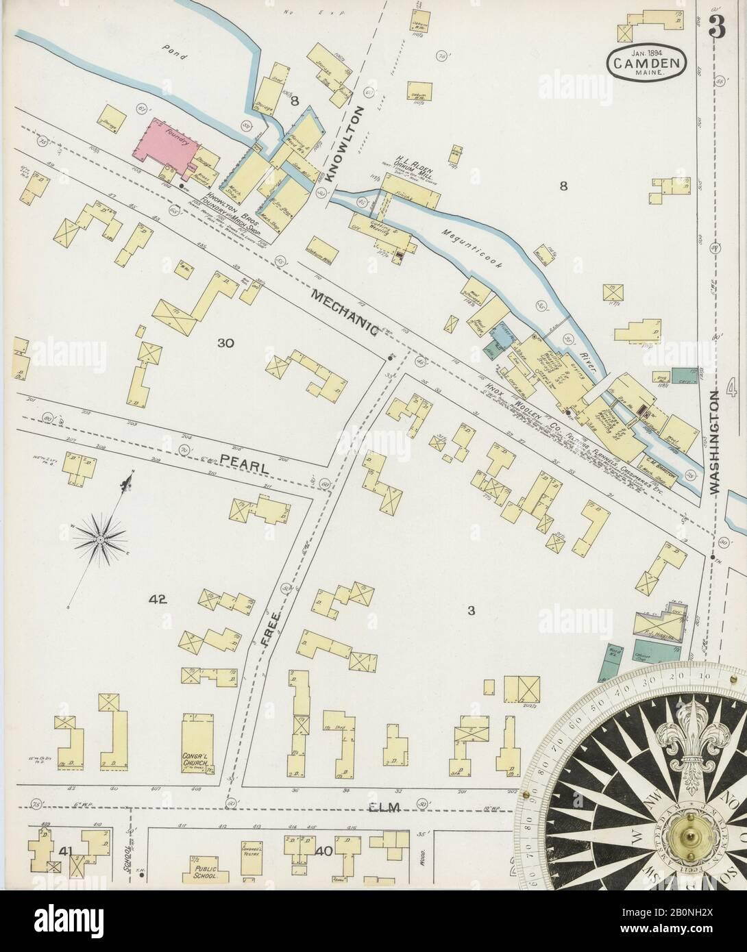 Bild 3 von Sanborn Fire Insurance Map aus Camden, Knox County, Maine. Jan 1894. 6 Blatt(e). Umfasst Rockport, Amerika, Straßenkarte mit einem Kompass Aus Dem 19. Jahrhundert Stockfoto