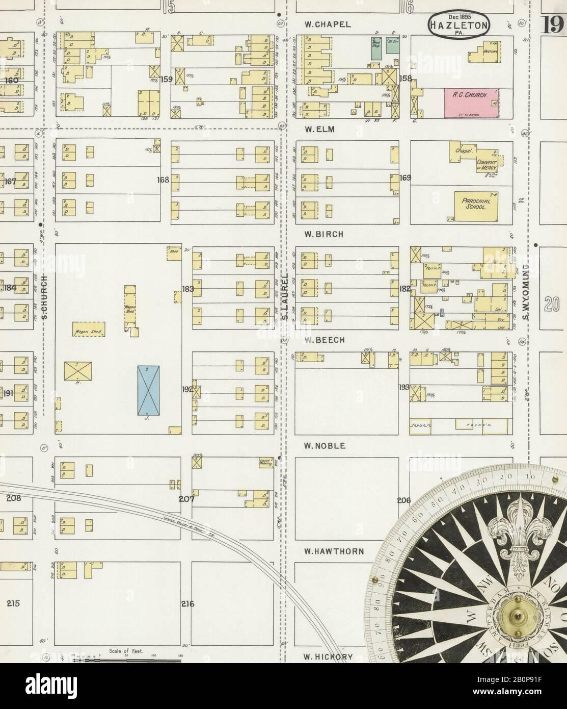 Bild 19 von Sanborn Fire Insurance Map aus Hazleton, Luzerne County, Pennsylvania. Dezember 1895. 24 Blatt(e), Amerika, Straßenkarte mit einem Kompass Aus Dem 19. Jahrhundert Stockfoto
