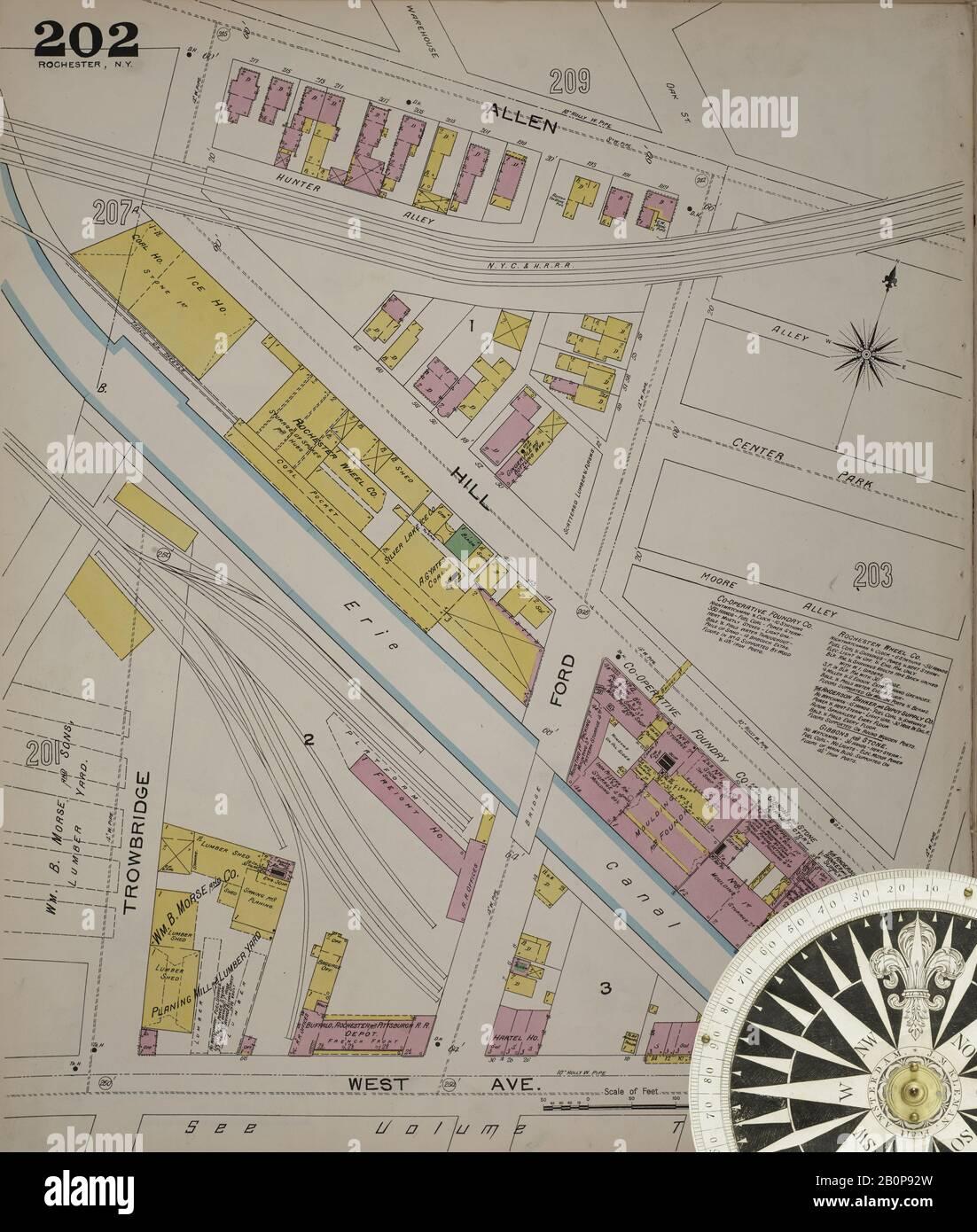 Bild 4 von Sanborn Fire Insurance Map aus Rochester, Monroe County, New York. 1892 Vol. 3. 92 Blatt(e). Bound, Amerika, Straßenkarte mit einem Kompass Aus Dem 19. Jahrhundert Stockfoto