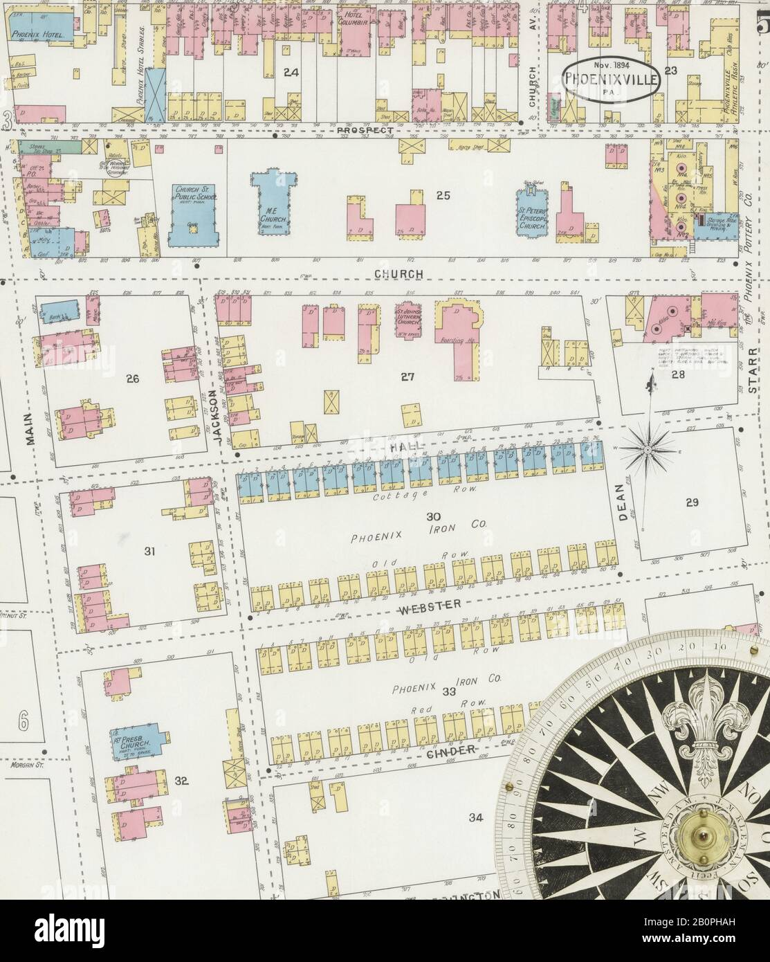 Bild 5 von Sanborn Fire Insurance Map aus Phoenix, Chester County, Pennsylvania. Nov. 1894. 10 Blatt(e), Amerika, Straßenkarte mit einem Kompass Aus Dem 19. Jahrhundert Stockfoto