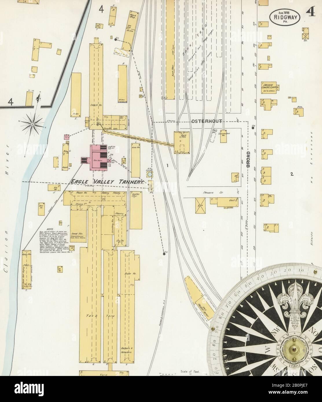 Bild 4 von Sanborn Fire Insurance Map aus Ridgway, Elk County, Pennsylvania. August 1898. 6 Blatt(e), Amerika, Straßenkarte mit einem Kompass Aus Dem 19. Jahrhundert Stockfoto